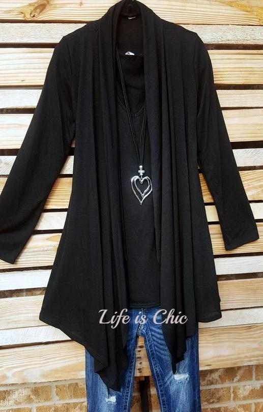 SIMPLY PERFECT 2 PCS SET CARDIGAN & TANK TOP MATCH IN BLACK