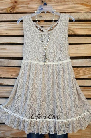 WHEREVER YOU GO LACE T-SHIRT TUNIC IN WHITE