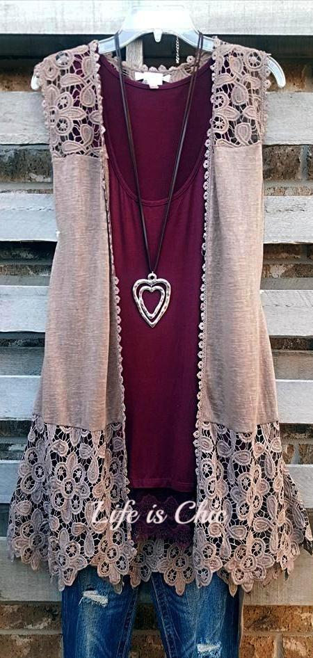 READY TO GO LACE EMBROIDERED VEST IN MOCHA [product vendor] - Life is Chic Boutique
