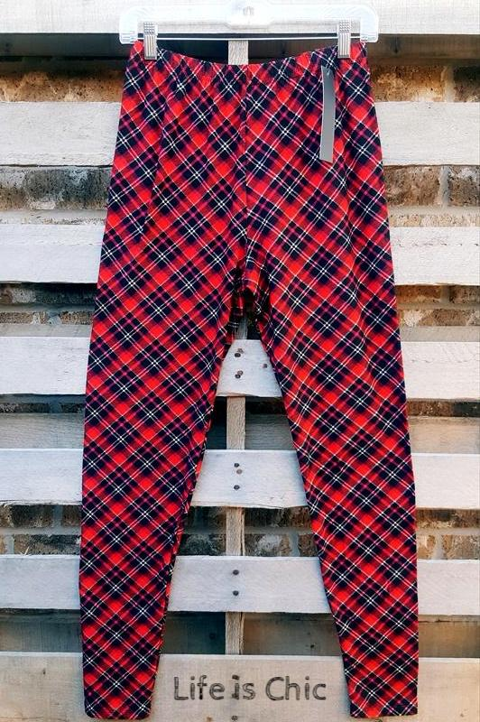 EASY GOES IT PLAID SOFT LEGGINGS IN MULTI-COLOR [product vendor] - Life is Chic Boutique