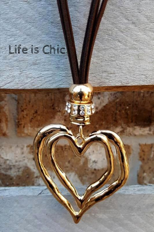 HEART ON HEART DESIGN NECKLACE - GOLD COLOR [product vendor] - Life is Chic Boutique