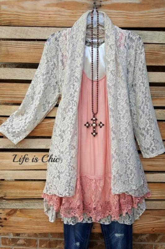 MON AMOUR LACE CARDIGAN IN LIGHT TAUPE [product vendor] - Life is Chic Boutique