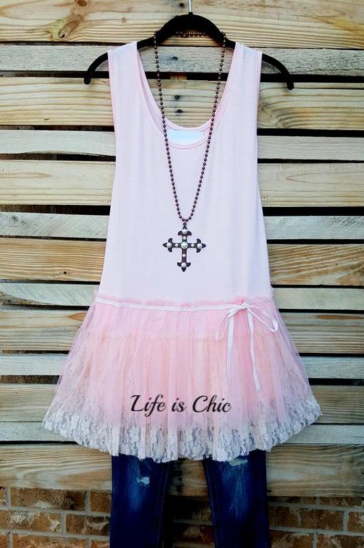 AN AFFAIR TO REMEMBER LACE SLIP EXTENDER DRESS IN PINK -SALE [product vendor] - Life is Chic Boutique