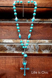 VICTORIAN INSPIRED CROSS NECKLACE IN BLUE [product vendor] - Life is Chic Boutique