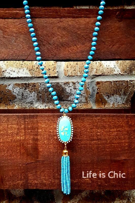 BEAUTY BOUND TURQUOISE TASSEL NECKLACE [product vendor] - Life is Chic Boutique