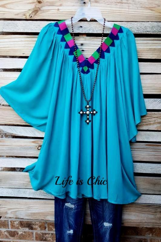 BRIGHT SOUTHERN SPIRIT TUNIC IN TURQUOISE  size 3X - SALE [product vendor] - Life is Chic Boutique