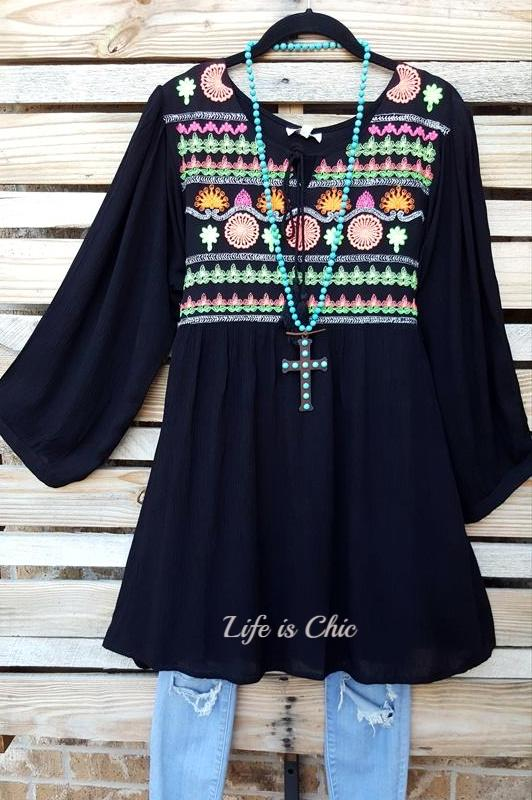 LOVE ME FOREVER EMBROIDERED 3/4 SLEEVE DRESS IN BLACK [product vendor] - Life is Chic Boutique