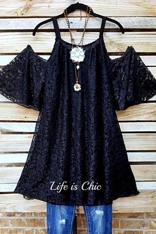 FAB CHARMING OFF SHOULDER FLORAL LACE TUNIC IN BLACK [product vendor] - Life is Chic Boutique