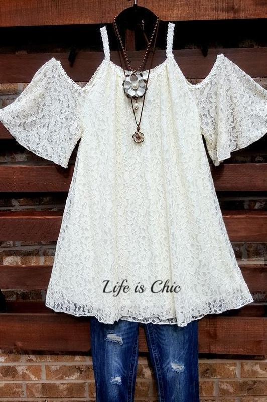 FAB CHARMING OFF SHOULDER FLORAL LACE TUNIC IN CREAM [product vendor] - Life is Chic Boutique