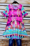 TAJ MAHAL BEAUTY DRESS IN FUCHSIA & MINT MIX [product vendor] - Life is Chic Boutique