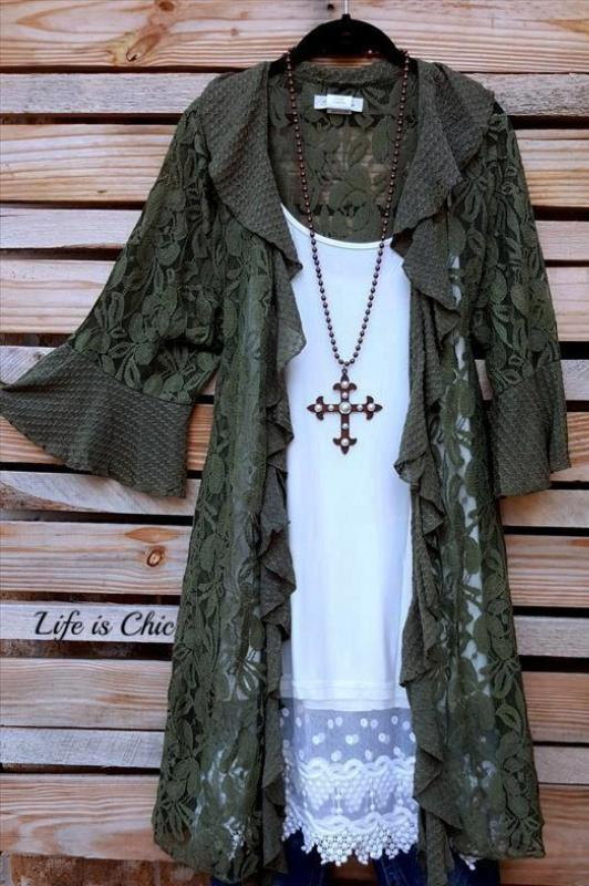 FLEUR-DE-LIS LACE CARDIGAN IN OLIVE [product vendor] - Life is Chic Boutique