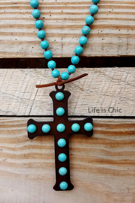 VICTORIAN TURQUOISE CROSS NECKLACE [product vendor] - Life is Chic Boutique