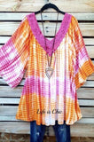 UNDER THE RAINBOW CROCHET TIE DYE TUNIC IN CORAL ORANGE FUCHSIA MIX [product vendor] - Life is Chic Boutique