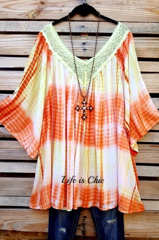 UNDER THE RAINBOW CROCHET TIE DYE TUNIC IN YELLOW & ORANGE MIX [product vendor] - Life is Chic Boutique