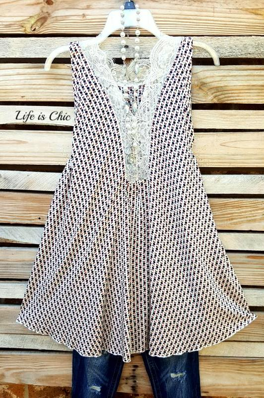INFINITE LOVE LACE SLEEVELESS TOP IN BEIGE MIX [product vendor] - Life is Chic Boutique