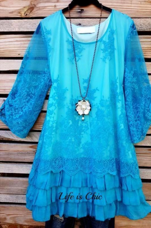 ALL THIS BEAUTY LACE EMBROIDERED 3/4 SLEEVE TUNIC IN TURQUOISE [product vendor] - Life is Chic Boutique