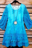 ALL THIS BEAUTY LACE EMBROIDERED 3/4 SLEEVE TUNIC IN TURQUOISE
