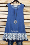 LIVING FREE & PEACE DENIM DRESS [product vendor] - Life is Chic Boutique