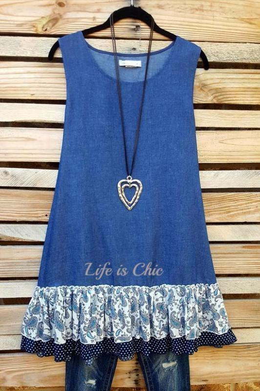LIVING FREE & PEACE DENIM DRESS - sale [product vendor] - Life is Chic Boutique