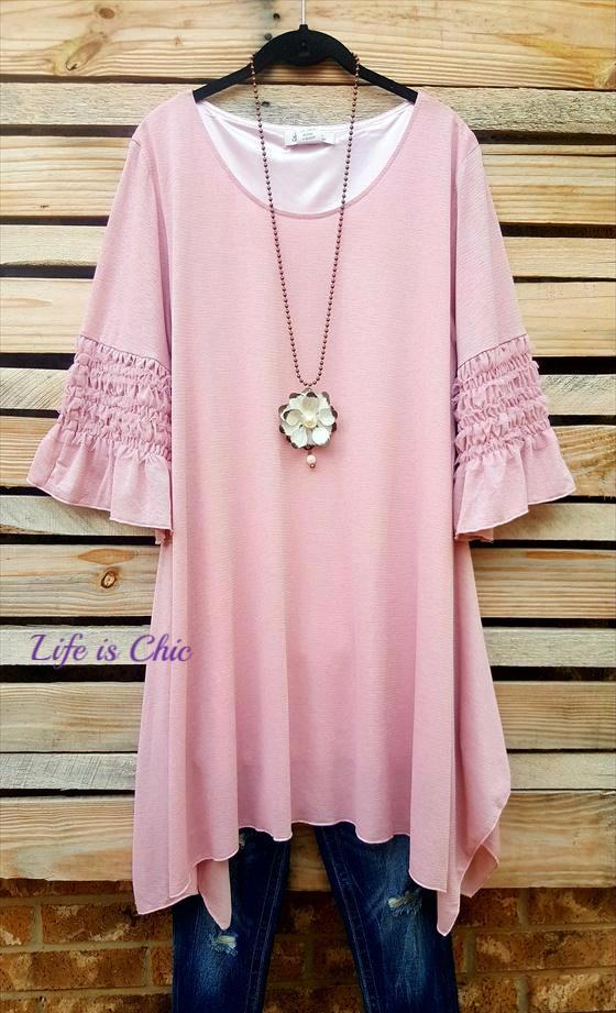 BACK TO THE START TUNIC ASYMMETRIC IN LIGHT ANTIQUE PINK [product vendor] - Life is Chic Boutique