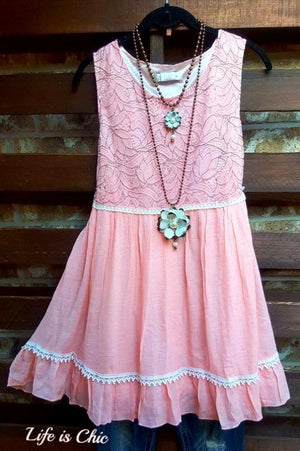 LOVE IS FOREVER PINK LACE SLEEVELESS DRESS - sale [product vendor] - Life is Chic Boutique