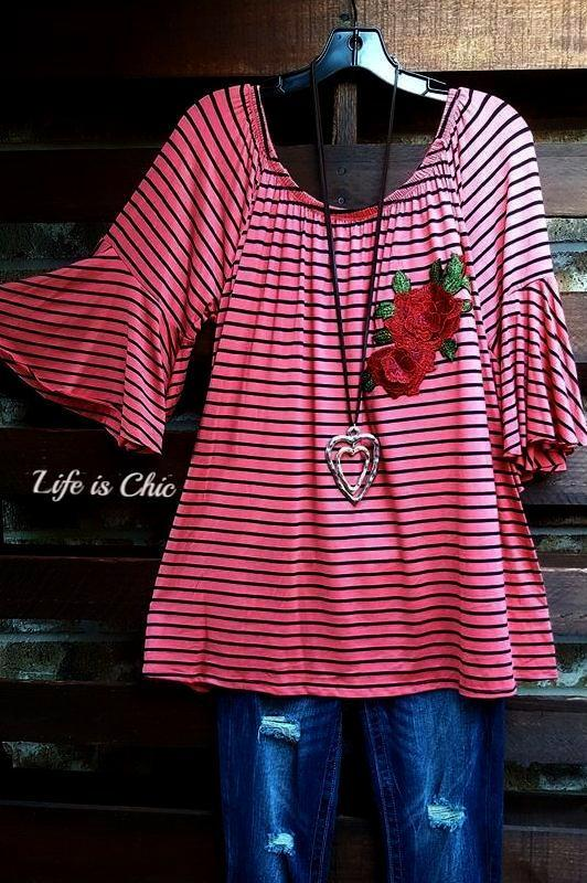 IT'S A BEAUTIFUL LIFE STRIPE & EMBROIDERED ROSE IN CORAL - sale [product vendor] - Life is Chic Boutique