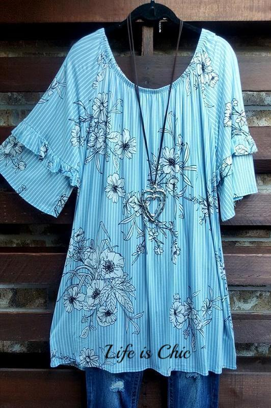 SECRET TO HAPPINESS LIGHT BLUE FLORAL STRIPED TUNIC [product vendor] - Life is Chic Boutique