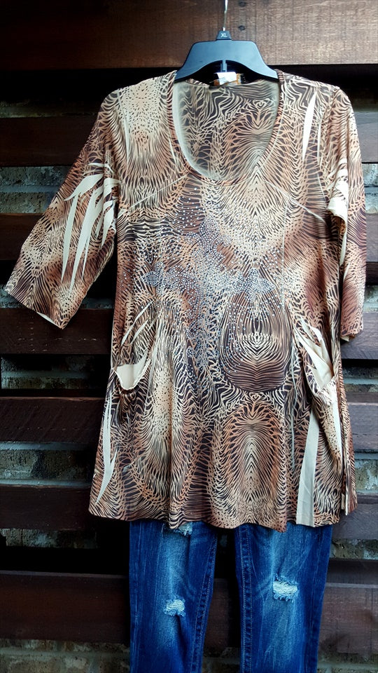 "ANIMAL PRINT RHINESTONE TUNIC MULTI size "" M ""- SALE [product vendor] - Life is Chic Boutique"