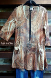 ANIMAL PRINT RHINESTONE TUNIC MULTI size