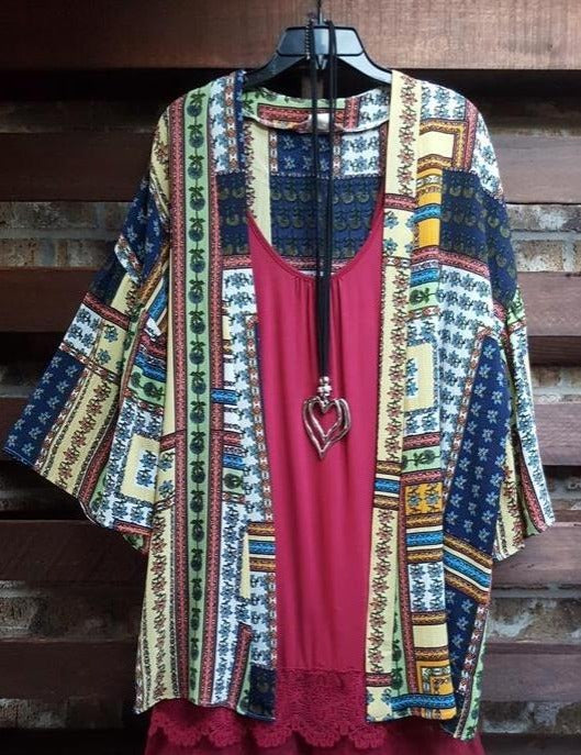 GOOD VIBES FLORAL PATCHWORK PRINT KIMONO IN MULTI-COLOR [product vendor] - Life is Chic Boutique