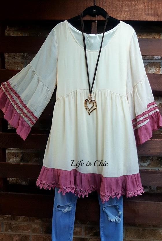 BOHEMIA WINDS TUNIC IN BEIGE & MAUVE [product vendor] - Life is Chic Boutique