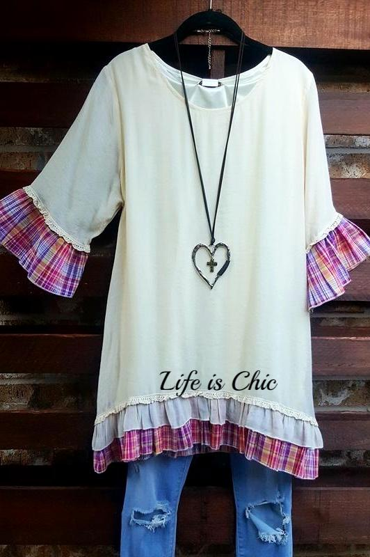 CREATE A LITTLE MAGIC DRESS IN BEIGE & PINK PLAID [product vendor] - Life is Chic Boutique
