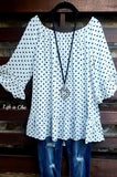 SIMPLY RADIANT POLKA DOT TOP IN BLACK/WHITE