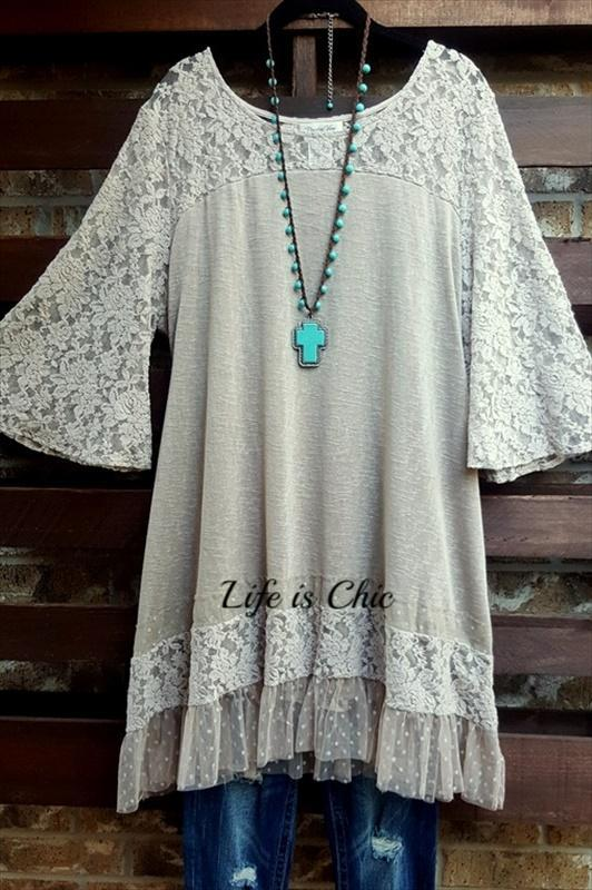 MY FAVORITE LACE DRESS IN TAUPE