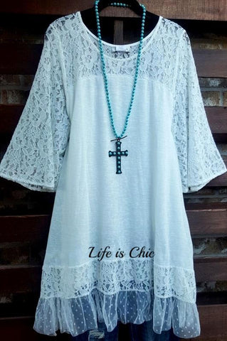 WHEREVER YOU GO LACE T-SHIRT TUNIC - OAT