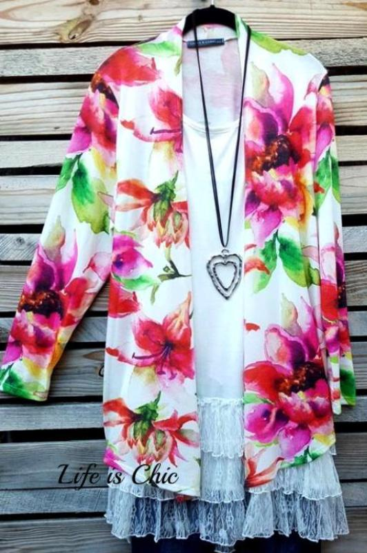 AFTER SUNSET FLORAL PRINT CARDIGAN MULTI-COLOR [product vendor] - Life is Chic Boutique