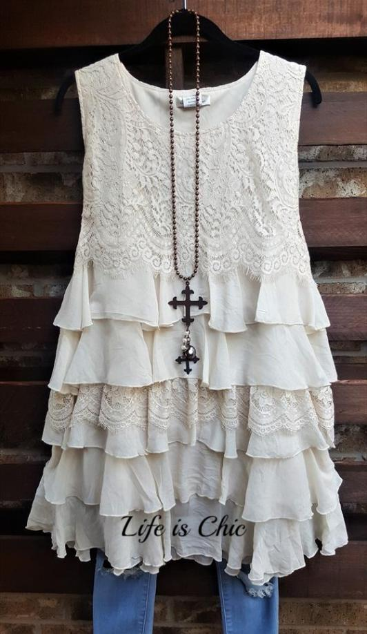 WON MY HEART RUFFLED LACE DRESS IN BEIGE