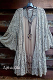 FOREVER DIVINE LACE CARDIGAN OVERSIZED IN TAUPE