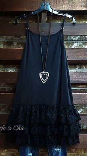 INSPIRED BY YOU LACE LYCRA EXTENDER SLIP DRESS IN BLACK [product vendor] - Life is Chic Boutique