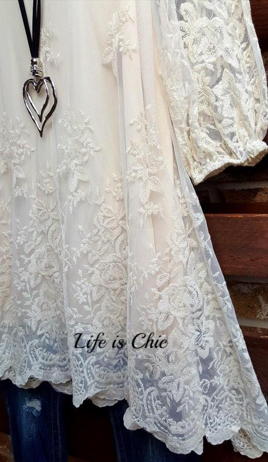 PRETTY PRECIOUS EMBROIDERED LACE TUNIC IN BEIGE [product vendor] - Life is Chic Boutique