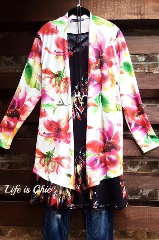 AFTER SUNSET FLORAL PRINT CARDIGAN MULTI-COLOR - sale [product vendor] - Life is Chic Boutique