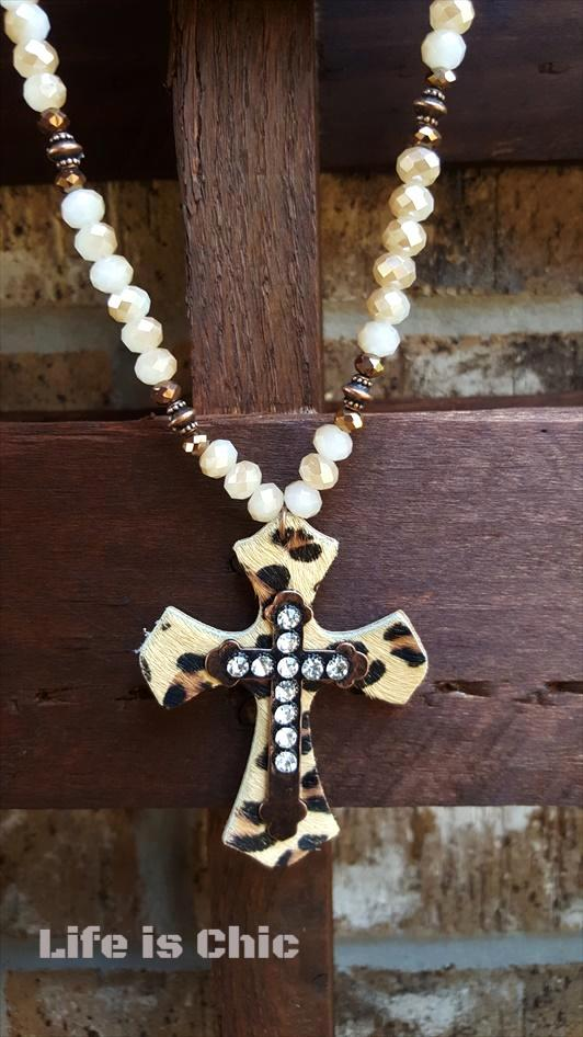 WILD BEAUTY CROSS NECKLACE RHINESTONE [product vendor] - Life is Chic Boutique