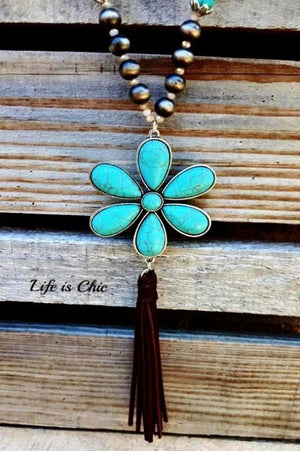 JUST THAT BEAUTIFUL TASSEL FLOWER IN TURQUOISE [product vendor] - Life is Chic Boutique