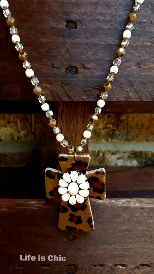 WILD BEAUTY CROSS NECKLACE [product vendor] - Life is Chic Boutique