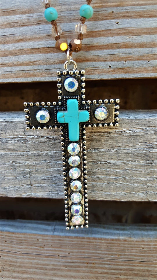 CROSS NECKLACE RHINESTONE & TURQUOISE [product vendor] - Life is Chic Boutique
