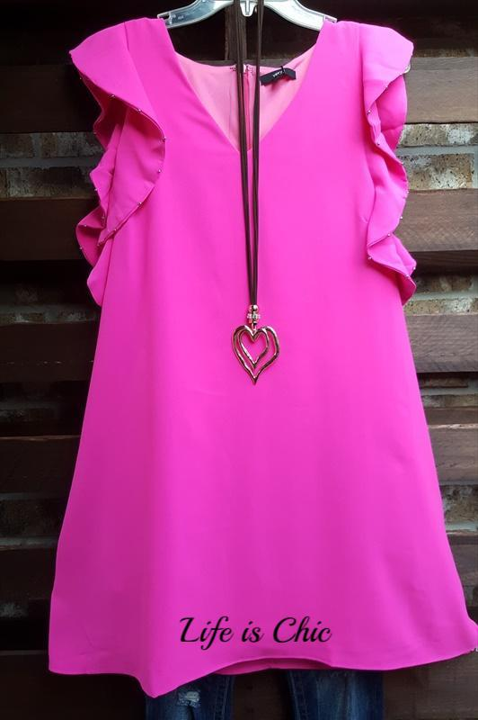 FAB EMBELLISHED DETAIL TUNIC IN PINK [product vendor] - Life is Chic Boutique
