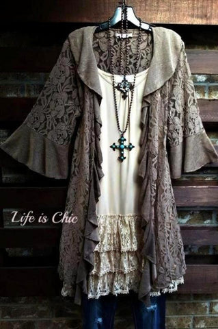 FAVORITE OBSESSION EMBROIDERED LACE DRESS IN BEIGE