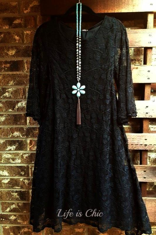 FLORAL EMBROIDERED LACE FAB DRESS ASYMMETRIC IN BLACK