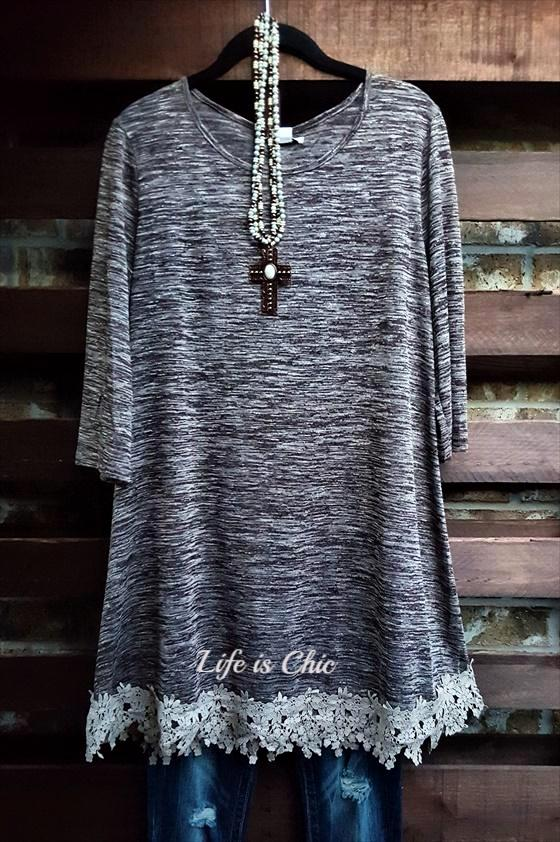 FOR EVERY MOMENT LACE  T-SHIRT TUNIC IN BROWN [product vendor] - Life is Chic Boutique