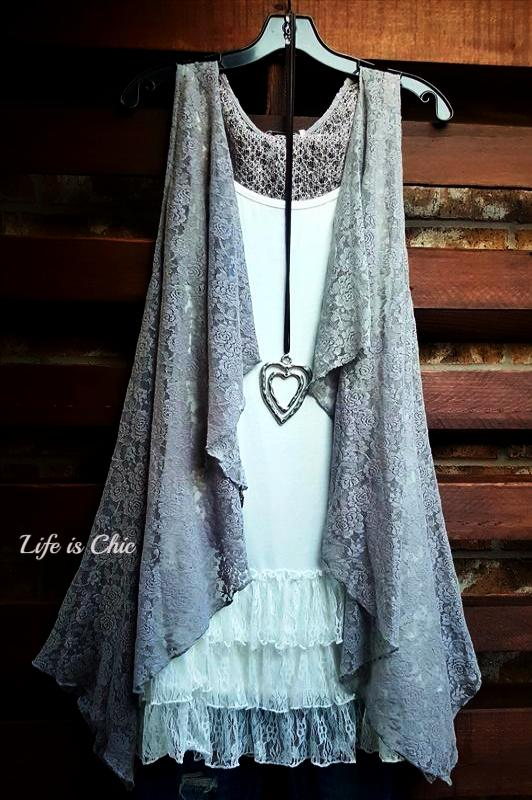 D'AMORE DREAM LACE VEST IN LIGHT GRAY [product vendor] - Life is Chic Boutique